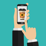 On line shopping. Hand holding smart phone with disposable coffee cup on the screen. Order food and drink concept. Flat  illustration Stock Images