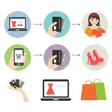 On line shopping icon. Vector illustration of on line shopping icons Vector Illustration
