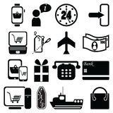 On line Shopping icons bag, sale label, plane, shipping, checkout, pc tablet mobile, laptop, 24 delivery, world wide delivery cred. It cash payment, gift, price Royalty Free Stock Photo