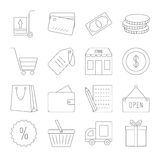 Line shopping icons set Royalty Free Stock Images