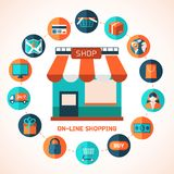On-line shopping infographic background. Royalty Free Stock Images