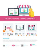On-line shopping inforaphic elements set, mobile banking, online purchasing Royalty Free Stock Image