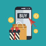 On line shopping. Mobile phone with shopping bag, present and red arrow, surrounded with money coins. Buy on line flat vector concept Stock Photos