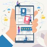 On-line shopping och nätverk också vektor för coreldrawillustration royaltyfri illustrationer