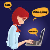 On line shopping, pretty girl typing. Stock Image