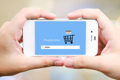 On line shopping on smart phone screen, E-commerce Royalty Free Stock Photography