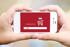 On line shopping on smart phone screen, E-commerce Stock Photos