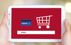 On line shopping on tablet screen, E-commerce Stock Photos