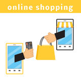 On-line shoppingbegrepp Royaltyfria Foton
