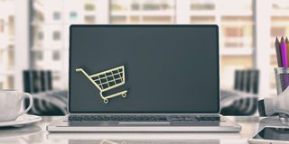 On-line shoppingbegrepp bärbar datorkontor illustration 3d Arkivbild