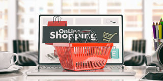 On-line shoppingbegrepp illustration 3d Royaltyfri Fotografi