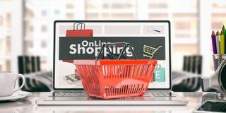 On-line shoppingbegrepp illustration 3d vektor illustrationer