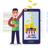 On-line shoppingbegrepp Tjäna pengarservice med smartphonen royaltyfri illustrationer