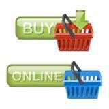 On-line shoppingsymboler för vektor royaltyfri illustrationer
