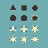 Line and silhouette geometrical shapes icons set Royalty Free Stock Photos