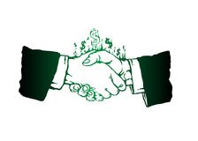 Line silhouette handshake symbol dollar. A closed loop continuous line silhouette handshake symbol on the sign. Business concept is a symbol of the conclusion of Royalty Free Stock Photography