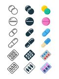 Line and silhouette icons of illegal drug tablets. Alcohol addiction, methamphetamine abuse. Vector illustration Royalty Free Stock Images