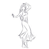Line silhouette of young woman showing belly dance Stock Photo