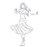 Line silhouette of young woman showing belly dance Royalty Free Stock Photo
