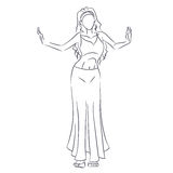 Line silhouette of young woman showing belly dance Stock Images