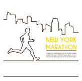 Line silhouettes of female runner. Running marathon, poster design Royalty Free Stock Photos