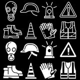 Line and silhouettes personal protective equipment icons set on black background Stock Photo