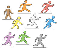 Line silhouettes of runners. Figures athletes running. Linear silhouettes of runners. Vector figures athletes running. Line running icons and logo. Running and Stock Images