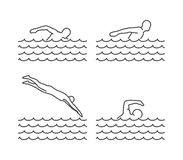 Line silhouettes of swim. Vector set of linear swimmer figures Royalty Free Stock Image
