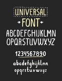 Line simple font. Universal alphabet with small and capital lett. Ers, numbers for your design, business Stock Photography