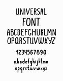 Line simple font. Universal alphabet with small and capital lett. Ers, numbers for your design, business Stock Image