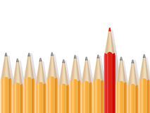 Line of simple pencils and one red pencil. Stock Photography