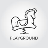Line simplicity icon of childrens rocking horse. Playground concept. Line simplicity icon of childrens rocking horse drawn in outline style. Playground concept Royalty Free Stock Photography