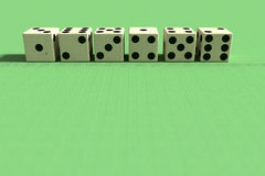 Line of six dice in close-up Stock Image