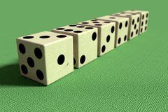 Line of six dice in close-up Royalty Free Stock Image