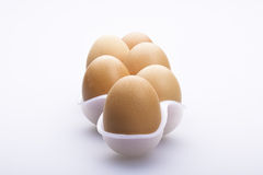 Line of six eggs Royalty Free Stock Image
