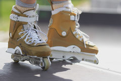 In-line skater in outdoor skatepark Royalty Free Stock Photography