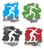 In-line skating and skateboard grunge icons. Set of four colorful grunge symbols of in-line skating and skateboarding. Vector illustration Stock Photos