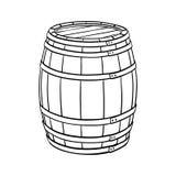 Line sketch of barrel. Isolated on white background. Vector illustration stock illustration