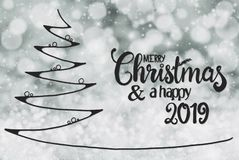 Tree, Merry Christmas And A Happy 2019, Grey Bokeh Background stock illustration