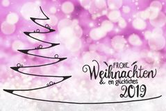 Tree, Glueckliches 2019 Means Happy 2019, Purple Bokeh Background vector illustration