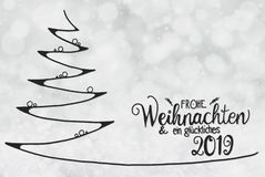 Tree, Glueckliches 2019 Means Happy 2019, Gray Bokeh Background stock illustration