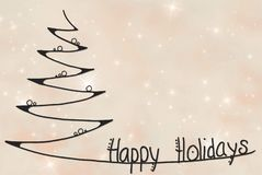 Christmas Tree, Happy Holidays, Pink Glittering Background vector illustration
