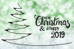 Tree, Merry Christmas And A Happy 2019, Green Background stock photography