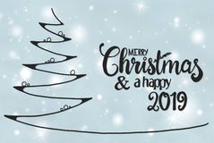 Tree, Merry Christmas And A Happy 2019, Light Blue Background stock illustration