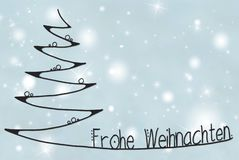 Tree, Frohe Weihnachten Means Merry Christmas, Light Blue Background vector illustration