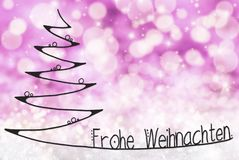 Tree, Frohe Weihnachten Means Merry Christmas, Purple Background stock images