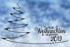 Line Sketch Of Christmas Tree, Glueckliches 2019 Means Happy New Year royalty free illustration