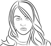 Line Sketch of a Girl chewing lip stock illustration