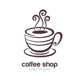 Line sketch illustration of coffee or tea cup isolated on white Royalty Free Stock Photo