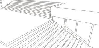 Line sketch of street stairs Royalty Free Stock Photos